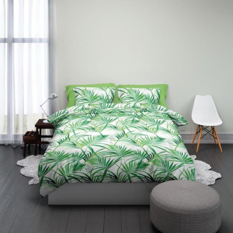Dekbedovertrek  Satin d'Or Palmleaves groen